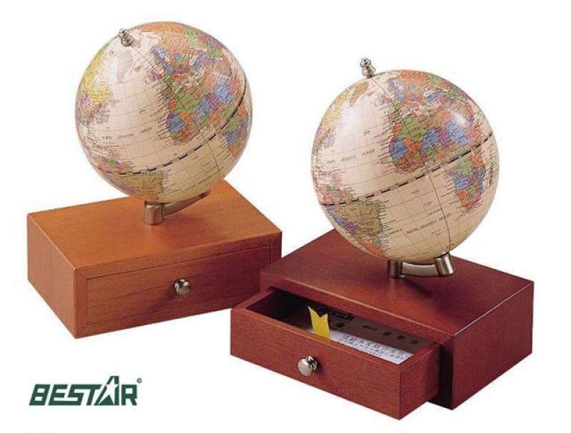 """Globus 3.75"""" szkatułka Bestar ciemna wiśnia, Globusy, Wyposażenie biura"""