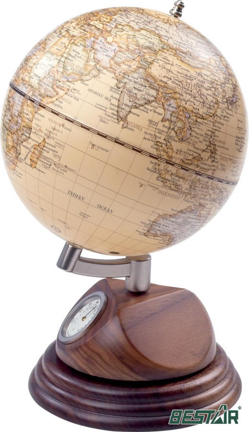"""Globus 5"""" Zegarek i termometr Bestar orzech, Globusy, Wyposażenie biura"""