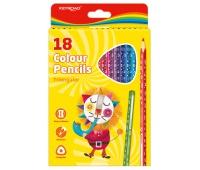 Kredki ołówkowe KEYROAD, trójkątne, 18szt., mix kolorów, Plastyka, Artykuły szkolne