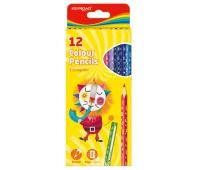 Kredki ołówkowe KEYROAD, trójkątne, 12szt., mix kolorów, Plastyka, Artykuły szkolne