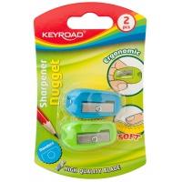 Temperówka KEYROAD Nugget, plastikowa, podwójna, 2szt., blister, mix kolorów, Temperówki, Artykuły do pisania i korygowania