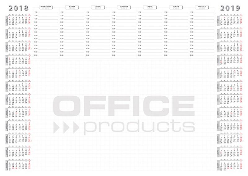Podkładka na biurko OFFICE PRODUCTS, planer 2018/2019, biuwar, A2, 52 ark., Podkładki na biurko, Wyposażenie biura