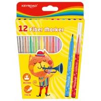 Flamastry KEYROAD Fiber Marker, 12szt., na zawieszce, mix kolorów, Plastyka, Artykuły szkolne