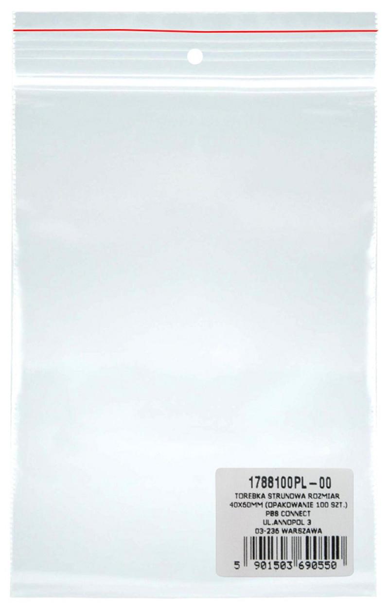 Torebka strunowa DONAU, PP, 40x60mm, 100szt., transparentna, Torebki, Archiwizacja dokumentów