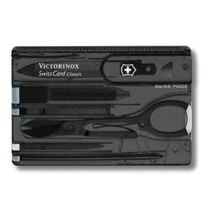 Scyzoryk VICTORINOX Swisscard Classic, celidor, 82mm, transparentny czarny, Scyzoryki, Ochrona indywidualna