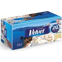 Chusteczki kosmetyczne celulozowe VELVET Relax, 2-warstwowe, 130 listków, biały, Ręczniki papierowe i dozowniki, Artykuły higieniczne i dozowniki