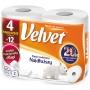 Papier toaletowy celulozowy VELVET Najdłuższy, 2-warstwowy, 486 listków, 4szt., biały, Papiery toaletowe i dozowniki, Artykuły higieniczne i dozowniki
