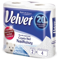 Ręczniki w roli celulozowe VELVET Najdłuższy, 2-warstwowe, 90 listków, 2szt., białe, Ręczniki papierowe i dozowniki, Artykuły higieniczne i dozowniki