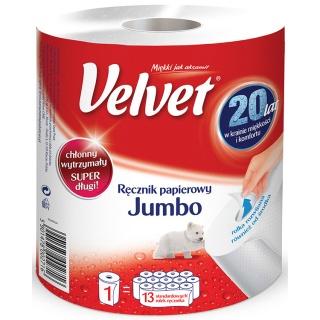 Ręcznik w roli celulozowy VELVET Jumbo, 2-warstwowy, 520 listków, biały, Ręczniki papierowe i dozowniki, Artykuły higieniczne i dozowniki