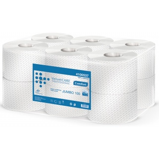 Papier toaletowy celulozowy VELVET Profesional Jumbo, 2-warstwowy, 800 listków, 100m, 12szt., biały, Papiery toaletowe i dozowniki, Artykuły higieniczne i dozowniki