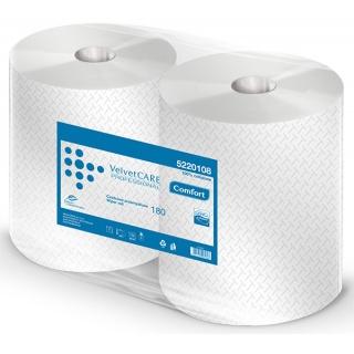 Czyściwo przemysłowe VELVET Profesional, 2-warstwowe, 720 listków, 180m, 2szt., białe, Ręczniki papierowe i dozowniki, Artykuły higieniczne i dozowniki