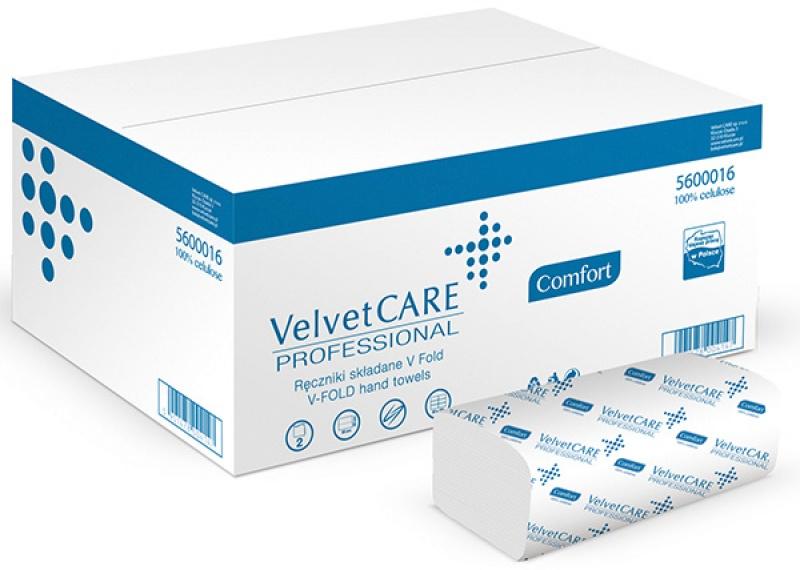 Ręczniki składane ZZ celulozowe VELVET Profesional, 2-warstwowe, 3000 listków, 20szt., białe, Ręczniki papierowe i dozowniki, Artykuły higieniczne i dozowniki