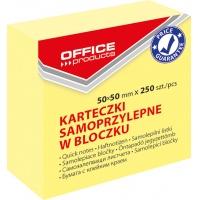 Mini kostka samoprzylepna OFFICE PRODUCTS, 50x50mm, 1x250 kart., pastel, jasnożółta, Bloczki samoprzylepne, Papier i etykiety
