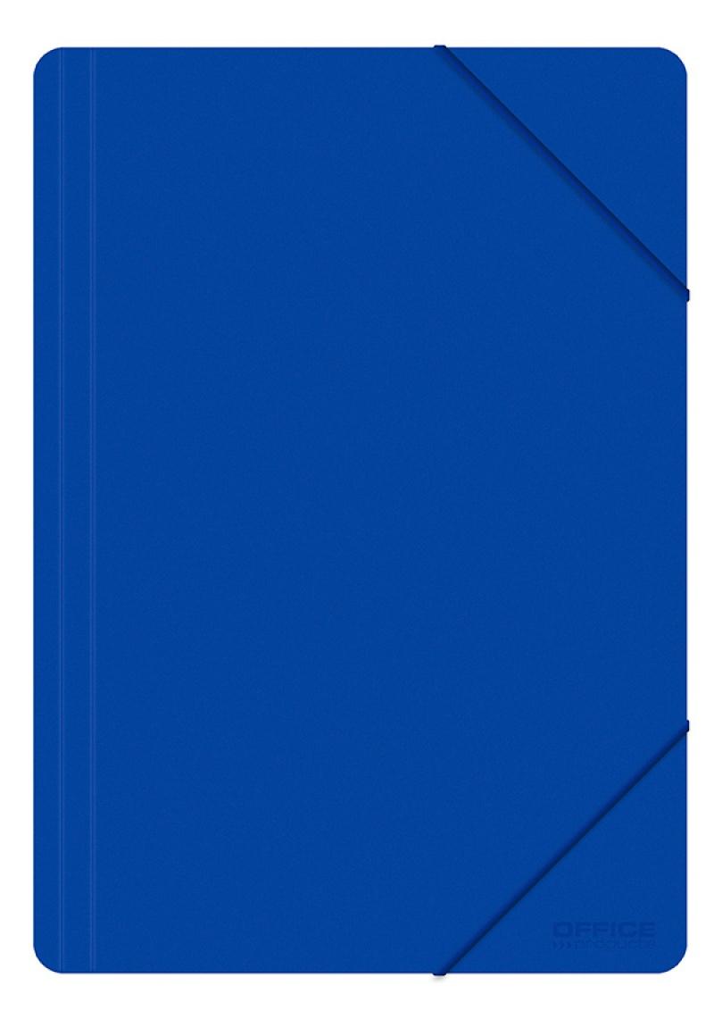 Teczka z gumką OFFICE PRODUCTS, A4, PP, 500mikr., 3-skrz., niebieska, Teczki płaskie, Archiwizacja dokumentów