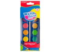 Farby akwarelowe KEYROAD, zawieszka, z pędzelkiem, 12 kolorów, Plastyka, Artykuły szkolne