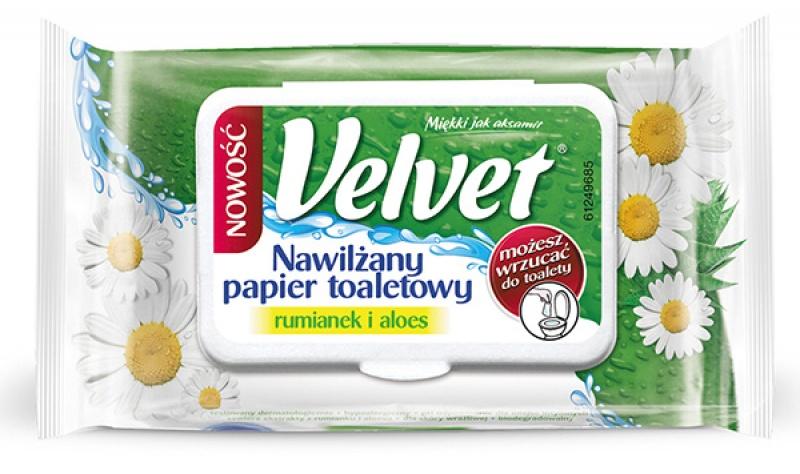 Papier toaletowy celulozowy VELVET Rum&Aloe, nawilżany, 42 listki, biały, Papiery toaletowe i dozowniki, Artykuły higieniczne i dozowniki