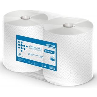 Czyściwo przemysłowe VELVET Professional, 2-warstwowe, 180 listków, 200m, 2szt., białe, Ręczniki papierowe i dozowniki, Artykuły higieniczne i dozowniki