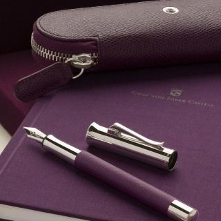 Skórzane etui na dwa przybory do pisania marki Graf von Faber-Castell z kolekcji Epsom, kolor Violet Blue, Etui, Artykuły do pisania i korygowania