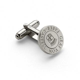 Spinki do mankietów marki Graf von Faber-Castell, okrągłe, platynowane, logowane, Dla mężczyzny, Akcesoria osobiste