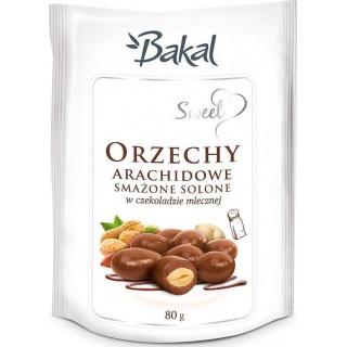 Orzechy arachidowe smażone solone w czekoladzie BAKAL Sweet, 80g, Przekąski, Artykuły spożywcze