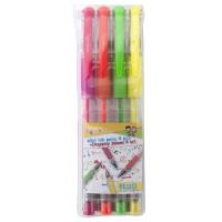 Długopis żelowy GIMBOO Fluo, 0,8mm, 4 szt., zawieszka, mix kolorów, Żelopisy, Artykuły do pisania i korygowania