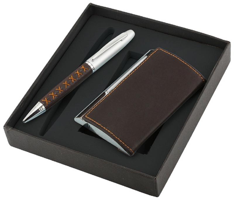 Zestaw długopis+wizytownik Krezon, brązowy, Długopisy, Artykuły do pisania i korygowania