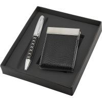 Zestaw długopis+wizytownik Mirdok, czarny, Długopisy, Artykuły do pisania i korygowania