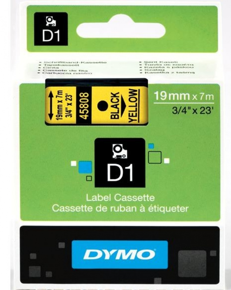 Taśma D1 - 19 mm x 7 m, czarny / żółty 45808/S072880, Drukarki do etykiet, Urządzenia i maszyny biurowe