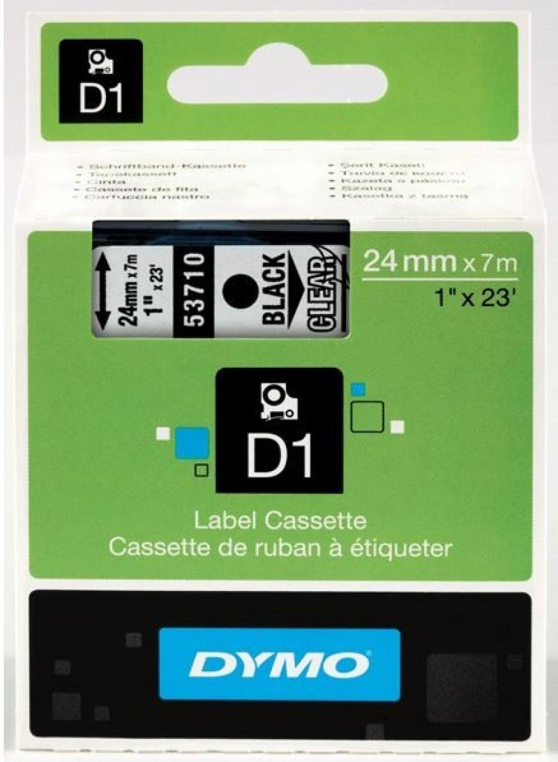 Taśma D1 - 24 mm x 7 m, czarny / przezroczysty 53710/S0720920, Drukarki do etykiet, Urządzenia i maszyny biurowe