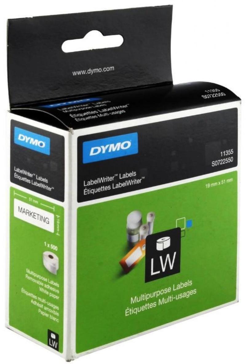 DYMO Etykiety różnego przeznaczenia - 19 x 51 mm, biały S0722550/11355, Drukarki do etykiet, Urządzenia i maszyny biurowe