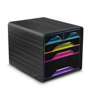 Zestaw 5 szufladek CEP Smoove, czarny/mix kolorów, Szufladki - zestawy, Drobne akcesoria biurowe