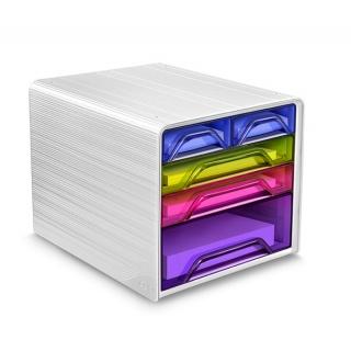 Zestaw 5 szufladek CEP Smoove, biały/mix kolorów, Szufladki - zestawy, Drobne akcesoria biurowe