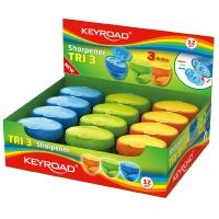 Temperówka KEYROAD Tri 3, plastikowa, potrójna, z pojemnikiem, display, mix kolorów, Temperówki, Artykuły do pisania i korygowania