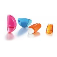 Temperówka KEYROAD Orange, plastikowa, pojedyńcza, z gumką, pakowane na displayu, mix kolorów, Temperówki, Artykuły do pisania i korygowania
