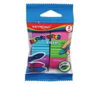Gumka uniwersalna KEYROAD Elastic Touch, 2szt., blister, mix kolorów, Plastyka, Artykuły szkolne