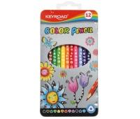 Kredki ołówkowe KEYROAD, trójkątne, 12szt., w metalowym pudełku, mix kolorów, Plastyka, Artykuły szkolne