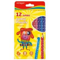 Kredki ołówkowe KEYROAD Jumbo, trójkątne, 12szt., mix kolorów, Plastyka, Artykuły szkolne