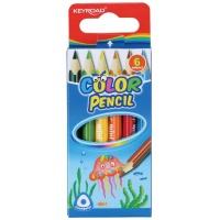 Kredki ołówkowe KEYROAD Mini, trójkątne, 6szt., mix kolorów, Plastyka, Artykuły szkolne