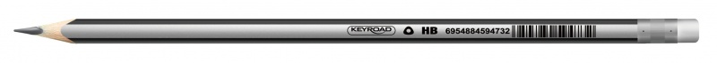 Ołówek drewniany z gumką KEYROAD, HB, trójkątny, display, szary, Ołówki, Artykuły do pisania i korygowania