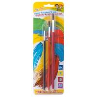 Pędzelki GIMBOO, No. 4-6-10, 3 szt., blister, mix kolorów, Plastyka, Artykuły szkolne