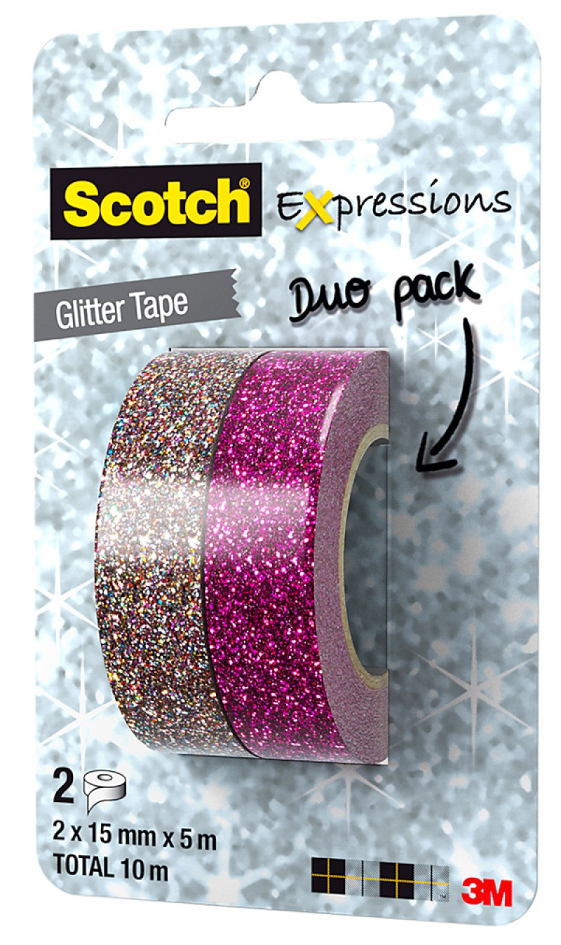 Scotch® Expressions Tape 2-pack Glitter Pink and Multicolor 15mmx5m C514