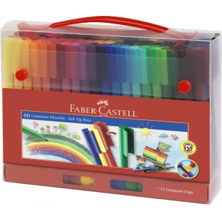 FLAMASTRY CONNECTOR 60 SZT. W WALIZCE FABER-CASTELL, Flamastry, Do szkoły