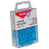 Colored Paper Clips OFFICE PRODUCTS, coated, 28 mm, in plastic box, 100 pcs, blue