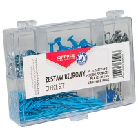 Office Set (drawing pins, clips, paper clips) OFFICE PRODUCTS, 153 pcs, blue