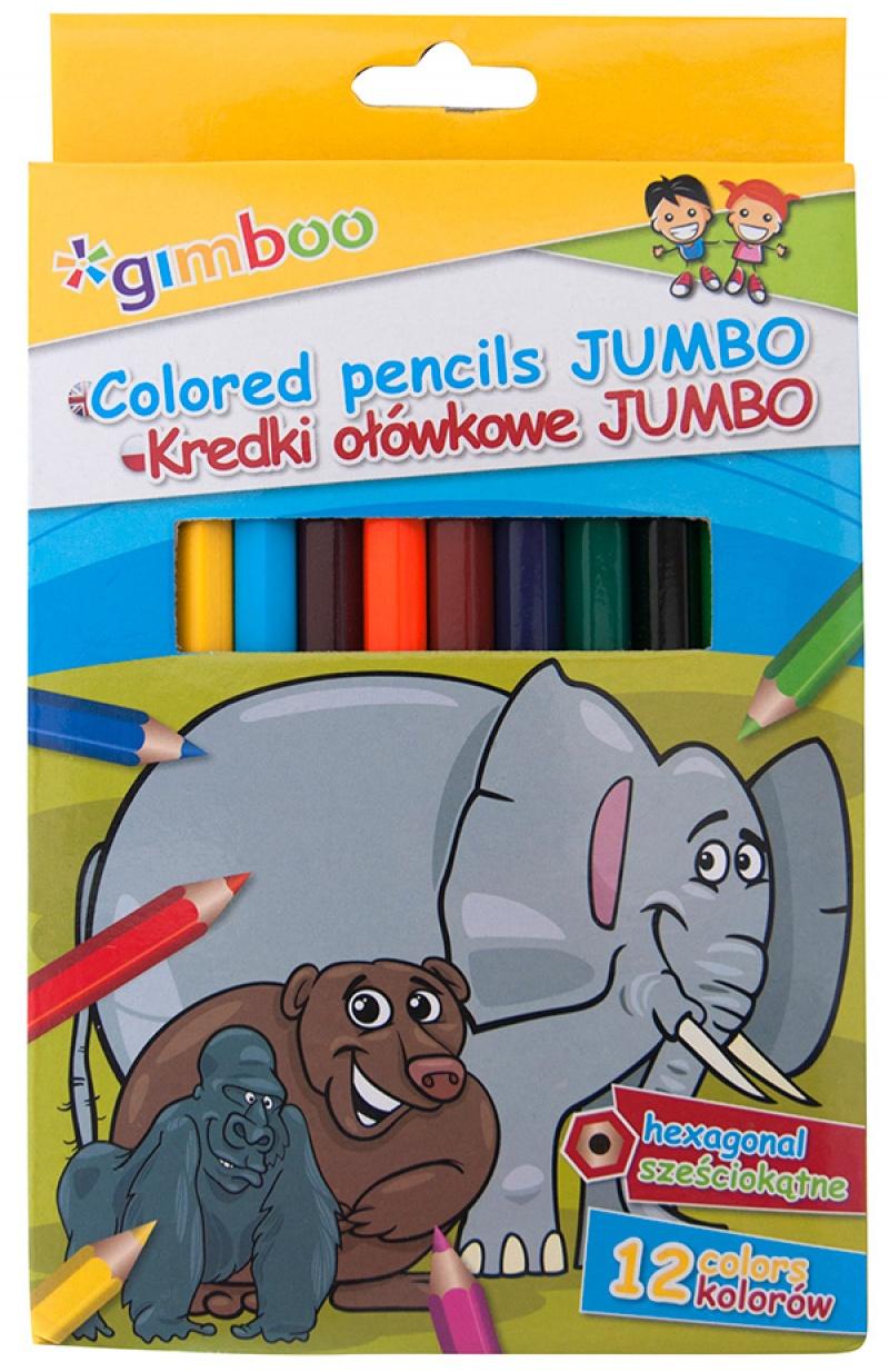 Kredki ołówkowe GIMBOO Jumbo, sześciokątne, 12szt., mix kolorów, Plastyka, Artykuły szkolne