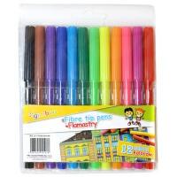 Flamastry GIMBOO, 12szt. na zawieszce, mix kolorów, Plastyka, Artykuły szkolne