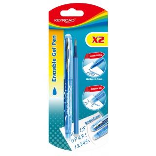 Długopis KEYROAD, 0,7mm, wymazywalny, dodatkowy wkład, blister, niebieski, Długopisy, Artykuły do pisania i korygowania