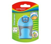 Temperówka KEYROAD Soft Touch, plastikowa, podwójna, ostrzenie w szpic, blister, mix kolorów, Temperówki, Artykuły do pisania i korygowania
