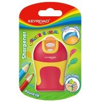 Temperówka KEYROAD Soft Touch, plastikowa, podwójna, ostrzenie zaokrąglone, blister, mix kolorów, Temperówki, Artykuły do pisania i korygowania