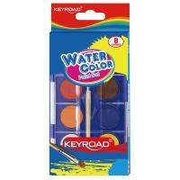 Farby akwarelowe KEYROAD, zawieszka, z pędzelkiem, 8 kolorów, Plastyka, Artykuły szkolne